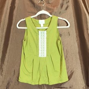 Deletta Green Sleeveless Top with Crochet Detail